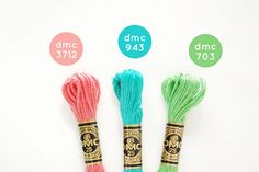DMC Color Combo: Spring by wildolive Diy Bracelets Easy, Thread Bracelets, Bracelet Crafts, Dmc Embroidery Floss, Hand Embroidery Patterns, Cross Stitch Embroidery, Cross Stitch Floss, Cross Stitch Patterns, Color Schemes