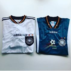 These two are a right pair. #germany #germanyshirt #germanfootball #adidas #football #footballshirt #retro #retroshirt #retrofootball #retrofootballshirt #vintage #vintageadidas #vintagefootball #vintagefootballshirt #classickit #classicfootball #soccer #soccerjersey #euros #euro96 #europeanchampionship #oldschool #90s #90ssoccer #90svintage #90sfootball