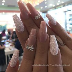 BOOM - 48 Fascinating Nails You Need To See Boom! Here are 48 Fascinating Nails You Need To See! All of these nails are lovely and currently are some of the most trending nails online right now. Best Acrylic Nails, Acrylic Nail Designs, Nail Art Designs, Nails Design, Glittery Acrylic Nails, Stylish Nails, Trendy Nails, Cute Nails, Prom Nails