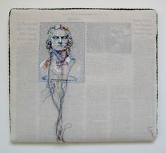 Lauren DiCioccio Hand-embroidery on cotton muslin upholstered around the May 9, 2008 edition of The New York Times