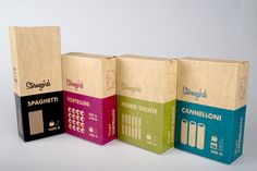 """Pasta packaging project by swedish design student Erik Johansson. """"The assignment was to design a low-price pasta brand. I chose to keep it one color only and printed on unbleached cardboard, to keep costs down. Food Packaging Design, Pretty Packaging, Packaging Design Inspiration, Brand Packaging, Graphic Design Inspiration, Organic Packaging, Simple Packaging, Packaging Ideas, Food Branding"""