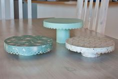 DIY cake stands from Cardboard, Glue, Food can, Pretty paper, A border punch, Scissors, Pencil, Ruler, Double sided tape,
