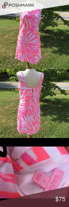 "Lilly Pulitzer Pink & Coral Shift Dress Lined Excellent clean condition.  Size S. Fully lined. Back metal zipper closure.  Bust up to 38"". Length from shoulder to bottom 35 1/2"". Pretty Coral and pink pattern Lilly Pulitzer Dresses"