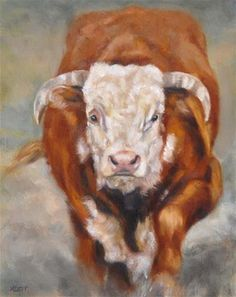 Hereford Bull - Original Fine Art for Sale - © by Tracy Klett