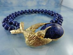 Signed Les Bernard Faux Lapis Statement Necklace With Ornate Bird