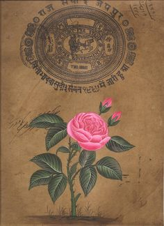 "Mughal Flower Miniature Artwork Handmade Old Stamp Paper Moghul Floral Painting, ""Mughal Floral Rose."""