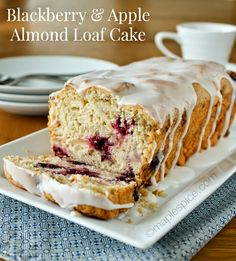 Blackberry & Apple Almond Loaf Cake. Vegan recipe. | Maple Spice - this would be good in the fall as an apple and cranberry loaf cake