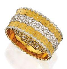 18 Karat Two-Color Gold and Diamond Cuff Bracelet, Buccellati