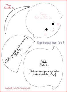 Feltro Fácil: Molde da Branca de Neve em feltro 2 Felt Doll Patterns, Felt Animal Patterns, Craft Patterns, Sewing Patterns, Felt Books, Doll Maker, Felt Fabric, Doll Crafts, Felt Ornaments