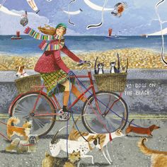 A fine art greeting card by painter Stephanie Lambourne, blank inside for your own message. Our greeting cards are printed on beautiful, premium FSC-approved bo Art And Illustration, Dachshund, Bicycle Art, Bike, Dog Paintings, Naive Art, Whimsical Art, Beach Art, Dog Art