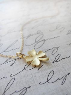 Simple gold necklace | Simple gold clover necklace - shamrock necklace - lucky gold jewelry