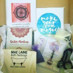 Some of the gift goodies for tonight's @mtmariamarket #giftideas #gutsygiftboxes #gutsygirlart #giftguide #artisan #artist #crystals #bath #jewellery #mandala #chakra #gutsymantras #affirmations #crystaltalisman #shoplocal #supporthandmade