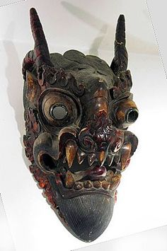 Himalayan Masks- Lion temple guard or demon mask, Nepal