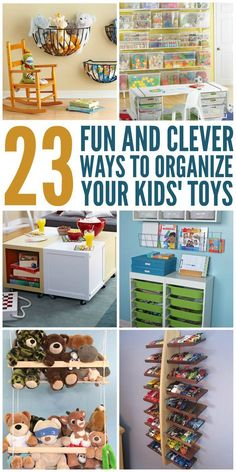 These toy organization ideas and hacks are not only fun and clever, but they& cute and adorable DIY projects. These toy organization ideas and hacks are not only fun and clever, but theyre cute and adorable DIY projects. Kids Room Organization, Organization Hacks, Organizing Toys, Playroom Ideas, Organising, Stuffed Animal Organization, Organizing Ideas, Toy Rooms, Diy For Kids
