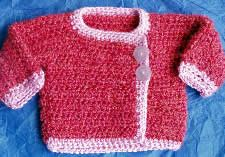 Baby Its Cold Outside pattern. Good pattern to use for a chef's jacket. Use 5.5 hook for infant size instead.