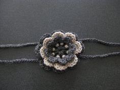 Crochet Flower Headband Three Layer TwoTone Gray by kickincrochet, $10.00  #dteam