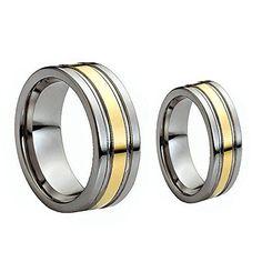 Men & Women's 8MM/6MM Flat Shiny Two Tone Gold Grooved Cut Tungsten Carbide Wedding Band Ring Set tungsten jeweler http://www.amazon.com/dp/B00B4GDEQQ/ref=cm_sw_r_pi_dp_1Zrzwb1N1WHM1