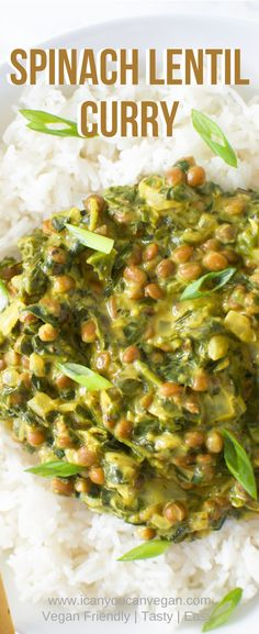 If you're looking for a flavorful comfort dish, this Lentil Spinach Curry is for you! Super easy to put together and inexpensive! Delicious Vegan Recipes, Vegetarian Recipes, Cooking Recipes, Healthy Recipes, Lentil Dishes, Curry Dishes, Spinach Curry, Vegetarian Curry, Lentil Curry