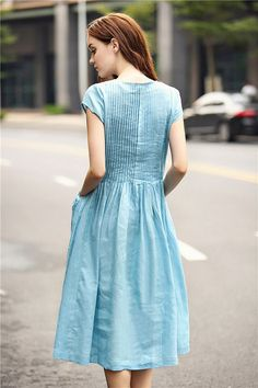 flared linen dress in blue stunning cocktail dress & day dress ! it is very popular in our boutique!! Highly recommend~! (1) ❤ 100% Linen Guarantee. We choose best linen that wont wrinkle or fade. No Cheap Linen Blend! (2) ❤ Fast Shipment. 1-3 days to ship for most orders. (3) ❤ Handmade work!  【Characteristic】 1. luxurious handmade pintucks on the top (front and back) 2. extra large special pockets on both side. 3. romantic light blue color 4. flared bottom.very flattering when you walk ...