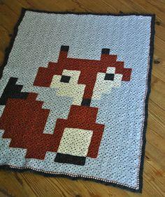 Fox crochet granny square blanket by nitsirk