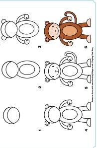 learn to draw a monkey Art Drawings For Kids, Doodle Drawings, Drawing For Kids, Animal Drawings, Doodle Art, Easy Drawings, Art For Kids, Drawing Lessons, Drawing Techniques