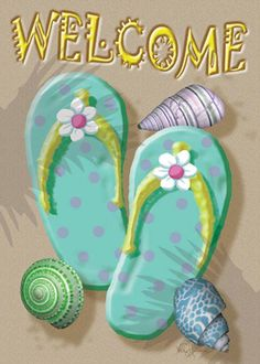1603580f2 Toland Welcome Flip Flop Decorative Double Sided Welcome Beach Relax  USAProduced House Flag -- Click image for more details-affiliate link.