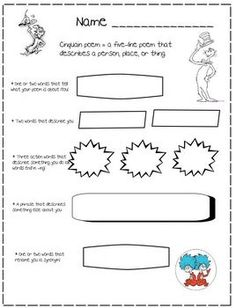 Use this graphic organizer to have students write a poem about themselves after reading the Dr. Seuss quote,