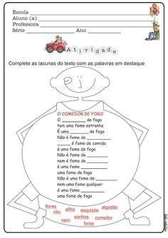 Atividade Dia do Circo Texto Lacunado O Engolidor de Fogo Roseana Murray | Ideia Criativa - Gi Barbosa Educação Infantil
