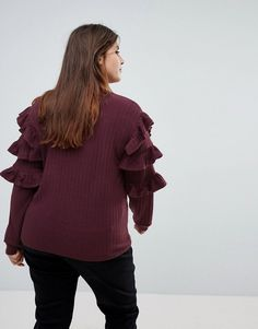 Unique 21 Hero Sweater With Ruffle Sleeve And Floral Patches - Red
