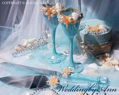 The turquoise cake serving set includes a 12  cake knife and one 10.5cake server. Both are stainless steel with a beautiful decorated with special technique paint crackles effect, crystal-looking handles . If you are interested in different colors please contact me and add note for me with your color when you order  You can order champagne, wine glasses, photo frame ,wedding photo album, wedding plate in same style.  Matching glasses you can see here: https://www.etsy.com/listi...