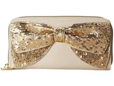 Betsey Johnson Bow Zip Around Cream/Gold Sequin - Zappos.com Free Shipping BOTH Ways