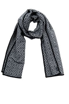 Broadway reversible Merino wool scarf, black and grey. 100% Merino wool, woven and made in England.