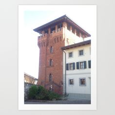 Medieval, red bricks, tower, architecture, Summer, country village, Italy, preservation