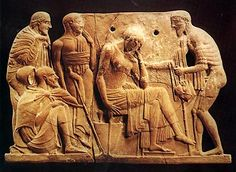 Odysseus, as a humble beggar, presents himself before Penelope who is sitting, pensive. The other figures of the scene are probably Telemachus, Laertes and the swineherd Eumaeus. 'Melian' terraccotta relief. 460-450 BC. New York, Metropolitan Museum of Art 30.11.9. Kakridis, J. Th., Elliniki Mythologia, vol. 5: Troikos Polemos, Ekdotiki Athinon, Athens 1986, p. 275, fig. 214.