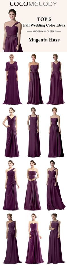 Top 5 Fall Wedding Color Ideas --Magenta Haze . 12 Colors To Choose .  #fallwedding  #bridesmaiddresses  #customdresses #cocomelody #dresses #convertibledresses #bridesmaid