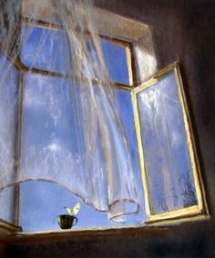 Breeze through an open window Open Window, Window Art, Window Sill, Painting Inspiration, Art Inspo, Art Et Illustration, Illustrations, Blowin' In The Wind, Impressionist
