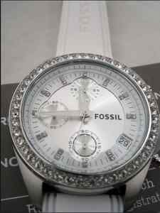 Silver and white bling fossil watch