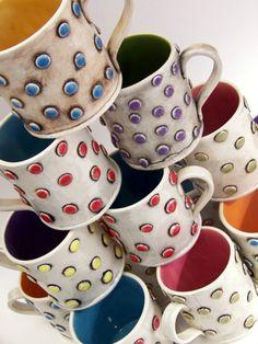 Funky HandBuilt Stoneware Mug with Blue polka dots by chARiTyelise