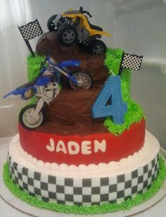 Dirtbike/fourwheeler cake Bike Birthday Parties, Dirt Bike Birthday, Motorcycle Birthday, Motorcycle Party, Baby Birthday, Birthday Party Themes, Birthday Ideas, Dirt Bike Cakes, Dirt Bike Party