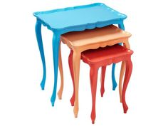 This set of nesting tables turns playful when you spruce it up with eye-catching paint colors. If your tables have lots of nicks or aren't in great condition, sand them first. See more flea market flips from HGTV Magazine. Furniture Projects, Furniture Makeover, Diy Furniture, Furniture Refinishing, Chair Makeover, Furniture Buyers, Urban Furniture, Repurposed Furniture, Painted Furniture