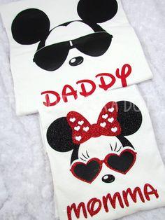 2 paquete mamá & papá padre Disney camisas Cool por TheHotPolkaDot