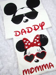 • Design ~ Matching Cool Minnie / Mickey Mouse Disney Unisex T - Shirts • Shirt Style ~ Unisex White T-Shirts **UNISEX SIZING** • Design Colors ~ as shown. Minnie shirt is Glitter Vinyl  Listing includes Two T-Shirts: 1 for Mom and 1 for Dad  >>> Please leave wording (name) how you want it on each shirt. (Mom, Dad, Mommy, Daddy, Soul & Mate, Nick Names or Your Names, etc)   Sizes 2XL and larger are an additional cost, please message me for custom listing if these sizes are needed. Also…