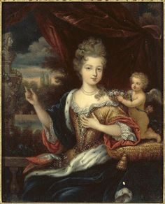 Louise Francoise de Bourbon, Mademoiselle de Nantes, illegitimate daughter of Luis XIV and the Marquise Montespan by Joseph Albrier after Pierre Mignard Bourbon, Louis Xiv, French History, Art History, Trianon Versailles, Jean Antoine Watteau, Royal Family Portrait, Ludwig Xiv, Art Français