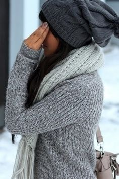 gray sweater. gray scarf. gray hat. gray nail polish. gray purse equals adorable outfit!