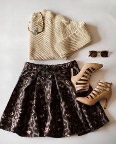 Skirt, sweater, shoes