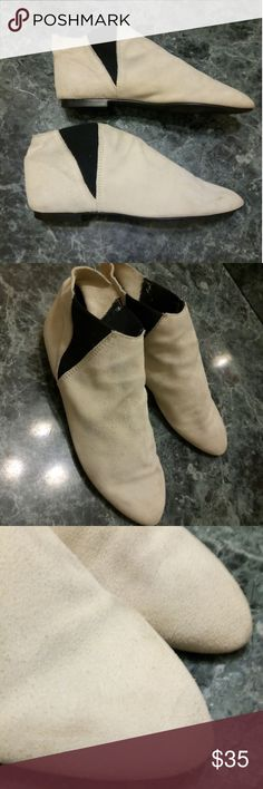 Cream Suede Booties Town & Country booties in good condition. Genuine leather. Only evidence of wear is a slight crease darkening on top, last photo tried to show. It is not very noticeable at all, but worth disclosing! Vintage Shoes Ankle Boots & Booties