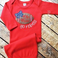 ole miss baby layette gown ole miss rebels by LexieGraceDesigns