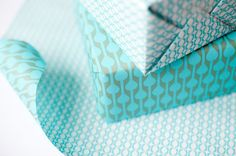 Double Sided Wrapping Paper, blue and green print, 3 sheets
