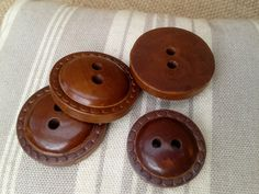 French #caramel #brown wood #buttons  . Set of 4 Buttons . Including  3 medium…