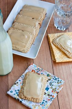 Homemade Maple-Cinnamon Oat Pop Tarts..healthy except the powdered sugar for frosting.